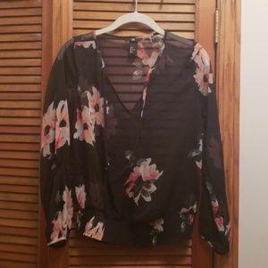 H&M Sheer Black Floral Blouse